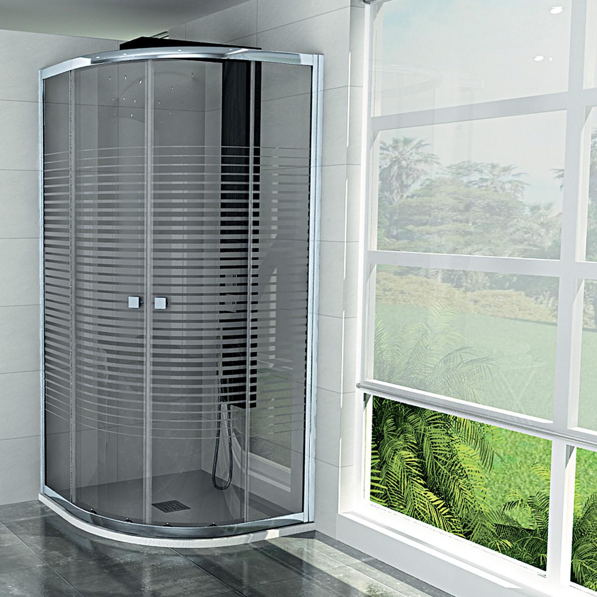 Box doccia semicircolare 80x80 cm trasparente altezza 180 cm ...