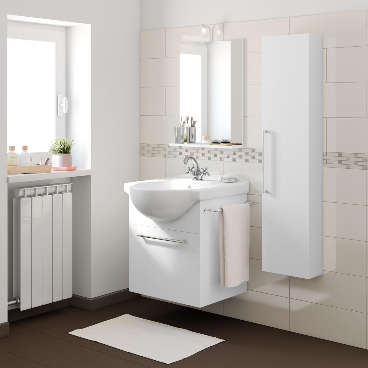 Specchio bagno mensola e luce 450mm prezzo e offerte for Mobile bagno doppio lavabo leroy merlin