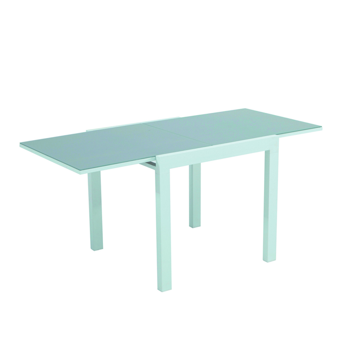 Tavolo fast allungabile 80 140cm struttura metallo vetro for Tavolo giardino metallo