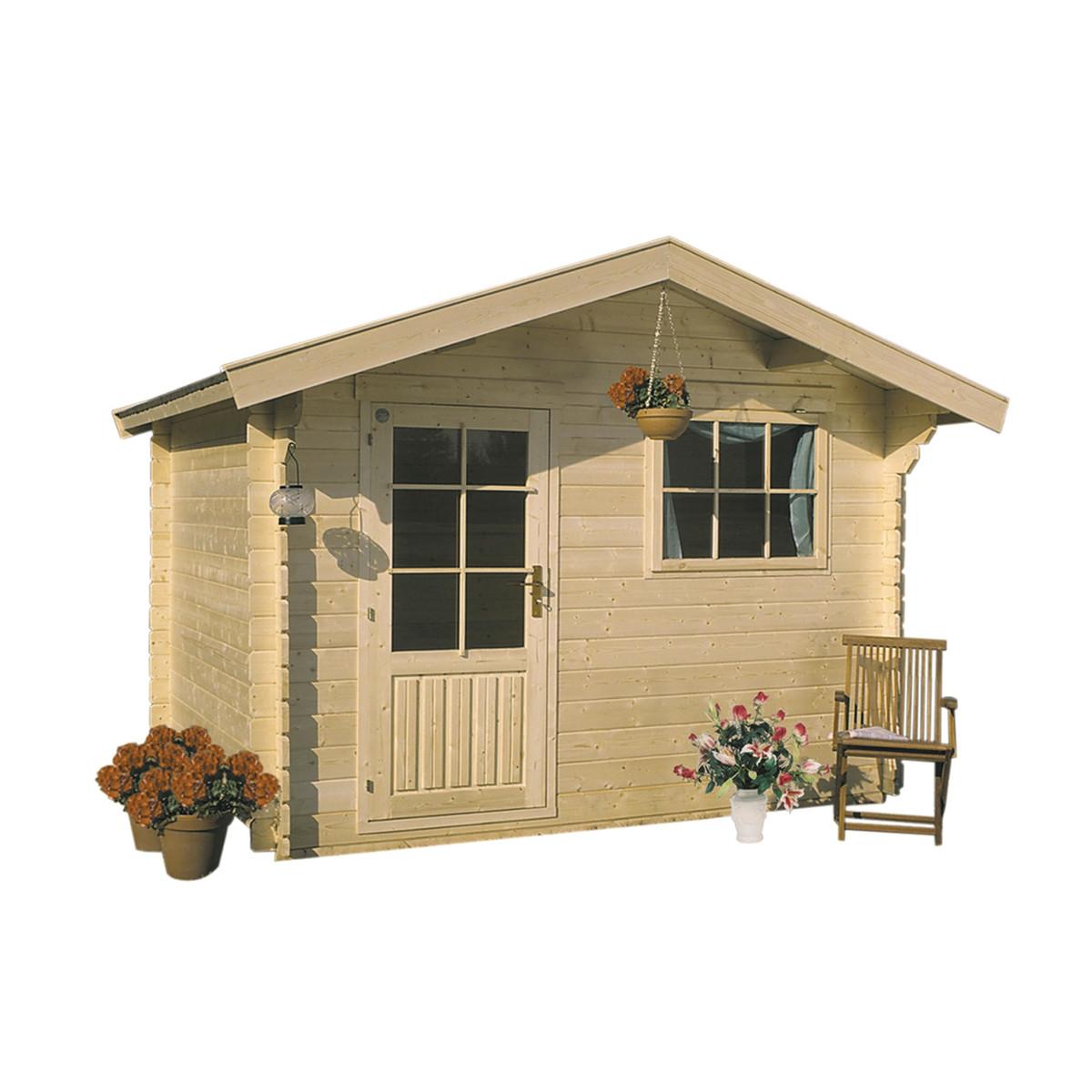 Casetta in legno incastro cm 220x220 naturale prezzo e for Casetta in legno prezzo