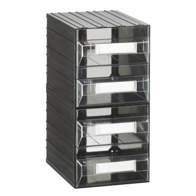 Cassettiera porta minuterie con 4 cassetti, colore nero/trasparente