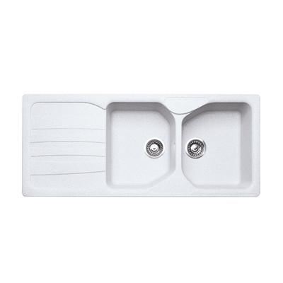 Lavello incasso Calypso bianco L 116 x P 50 cm 2 vasche + gocciolatoio