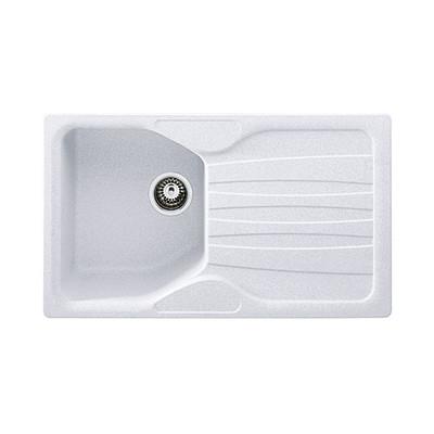Lavello incasso Calypso bianco L 86 x P 50 cm 1 vasca + gocciolatoio