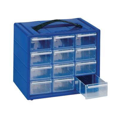 Cassettiera porta minuterie ESP12.BL, colore blu/trasparente