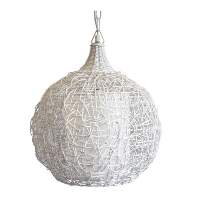 Lampadario Bompa bianco, in rattan, diam. 36 cm, E27 MAX60W IP20
