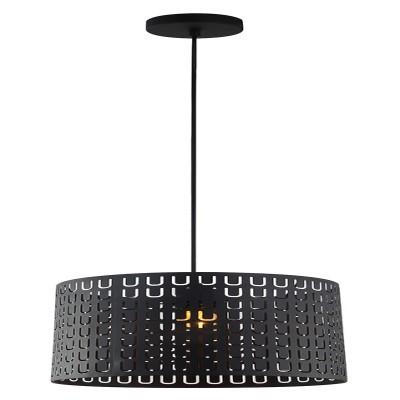 Lampadario Callas nero, in metallo, diam. 30 cm, E27 MAX60W IP20 LUSSIOL