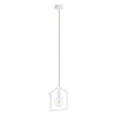 Lampadario Casetta bianco, in tessuto, diam. 24 cm, E27 MAX40W IP20