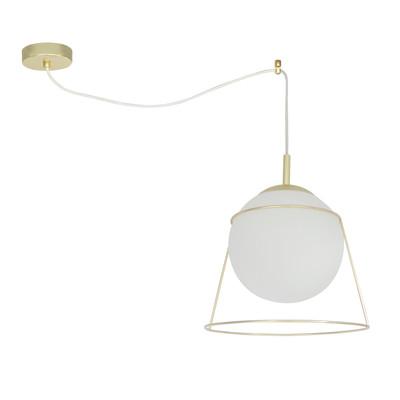Lampadario Celeste bianco, in vetro, diam. 34 cm, E27 MAX60W IP20 INSPIRE