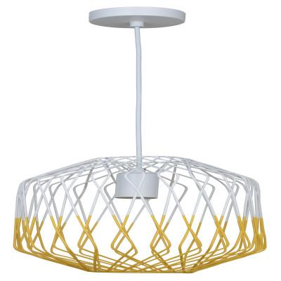 Lampadario Meredith bianco, giallo, in metallo, diam. 24 cm, E27 MAX60W IP20 INSPIRE