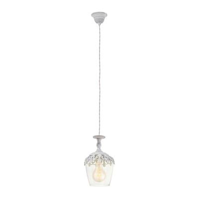 Lampadario Vintage bianco, trasparente, in acciaio inossidabile, diam. 17 cm, E27 MAX60W IP20 EGLO