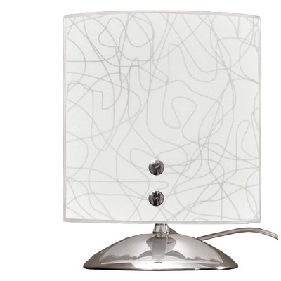 Lampada da comodino Gemelli grigio, bianco, in vetro, E14 MAX 42W IP20