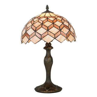 Lampada da tavolo Liberty arancione, ambra, ottone, in vetro, E27 MAX 42W IP20