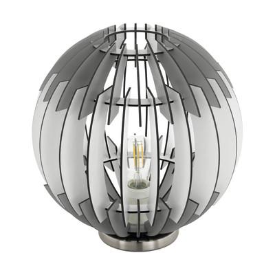 Lampada da tavolo Olmero nero, bianco, in legno, E27 MAX 60W IP20