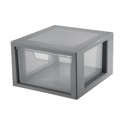 Cassettiera L 32.5 x P 35 x H 20.3 cm grigio / argento