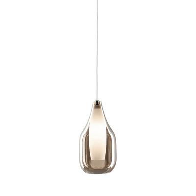 Lampadario Drop bianco, ambra, in vetro, diam. 13 cm, G9 MAX28W IP20 SFORZIN