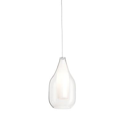 Lampadario Drop bianco, trasparente, in vetro, diam. 13 cm, G9 MAX28W IP20 SFORZIN