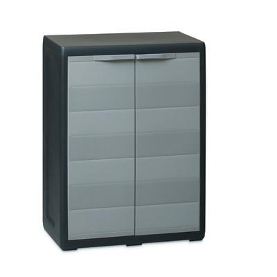 Armadio in resina Elegance L 65 x P 38 x H 87 cm nero e grigio