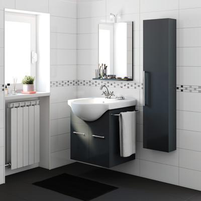 Mobile bagno Ginevra grigio grafite L 56.5 cm