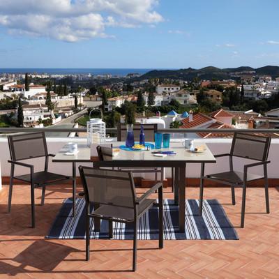Tavolo da giardino allungabile quadrata Lyra NATERIAL in alluminio L 90 x P 90 cm