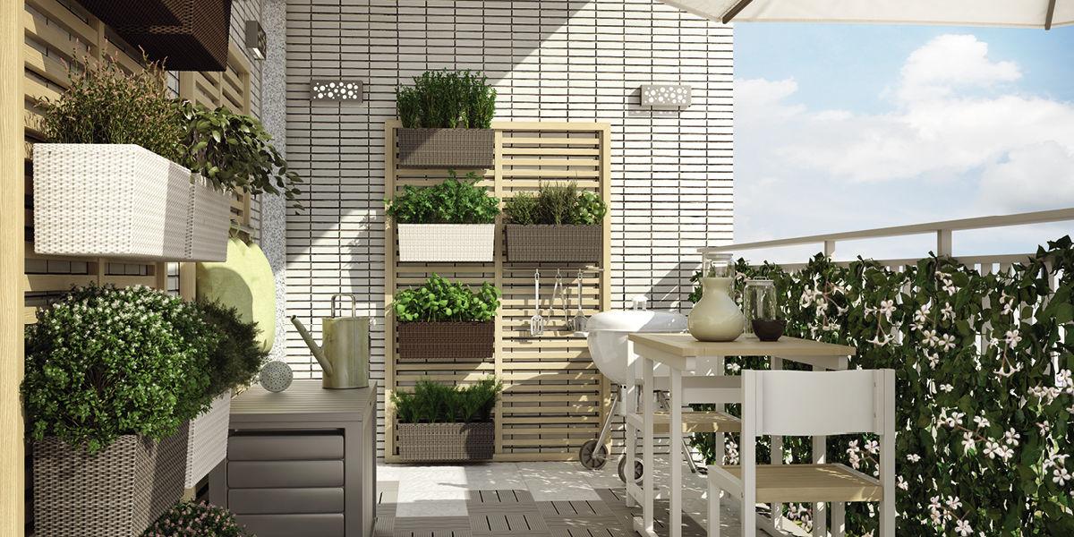 Un orto verticale per godere appieno di un balcone piccolo for Piante finte leroy merlin