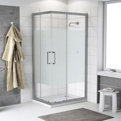 Box doccia scorrevole Quad 70 x 90 cm, H 190 cm in alluminio e vetro,  spessore 6 mm serigrafato argento