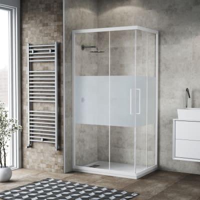 Box doccia scorrevole 70 x 90 cm, H 195 cm in vetro, spessore 6 mm brinato  bianco