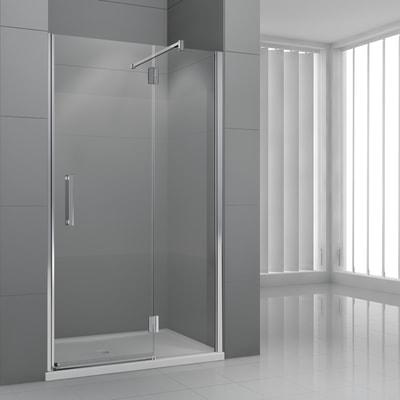 Porta doccia battente Modulo 75 cm, H 195 cm in vetro temprato, spessore 6  mm trasparente cromato