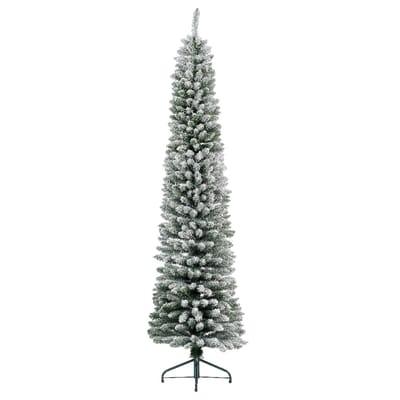 Albero Di Natale Slim 240.Albero Di Natale Artificiale Slim Innevato Bianco H 180 Cm Prezzo Online Leroy Merlin