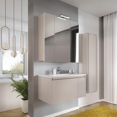 Set mobile da bagno con lavabo Remix grigio perla L 80 cm