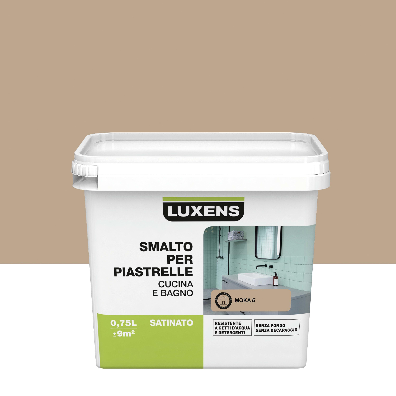 Smalto Per Piastrelle Luxens Marrone Moka 5 Satinato 0 75 L