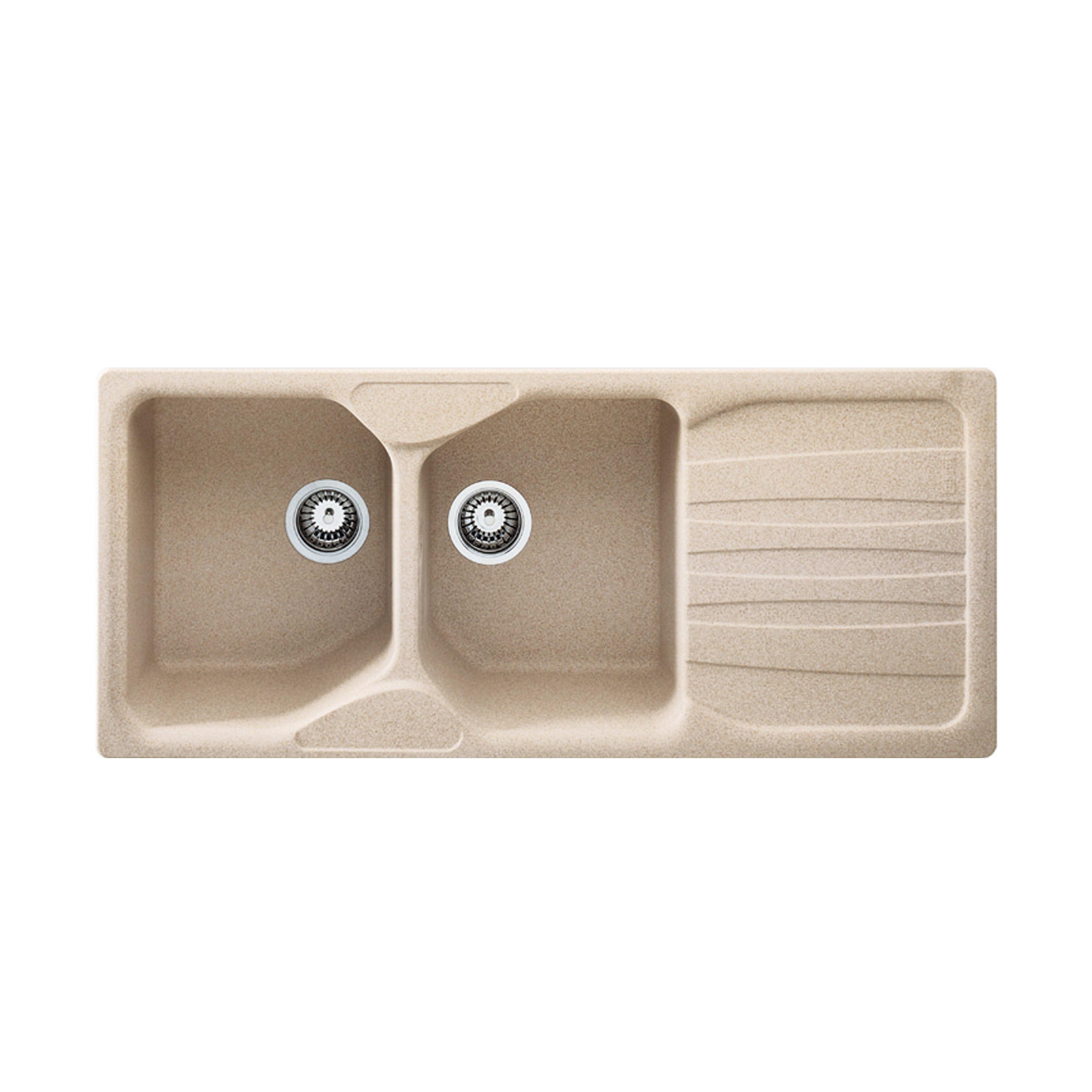 Lavandino Cucina Con Gocciolatoio lavello da incasso calypso 116 x 50 cm 2 vasche con gocciolatoio