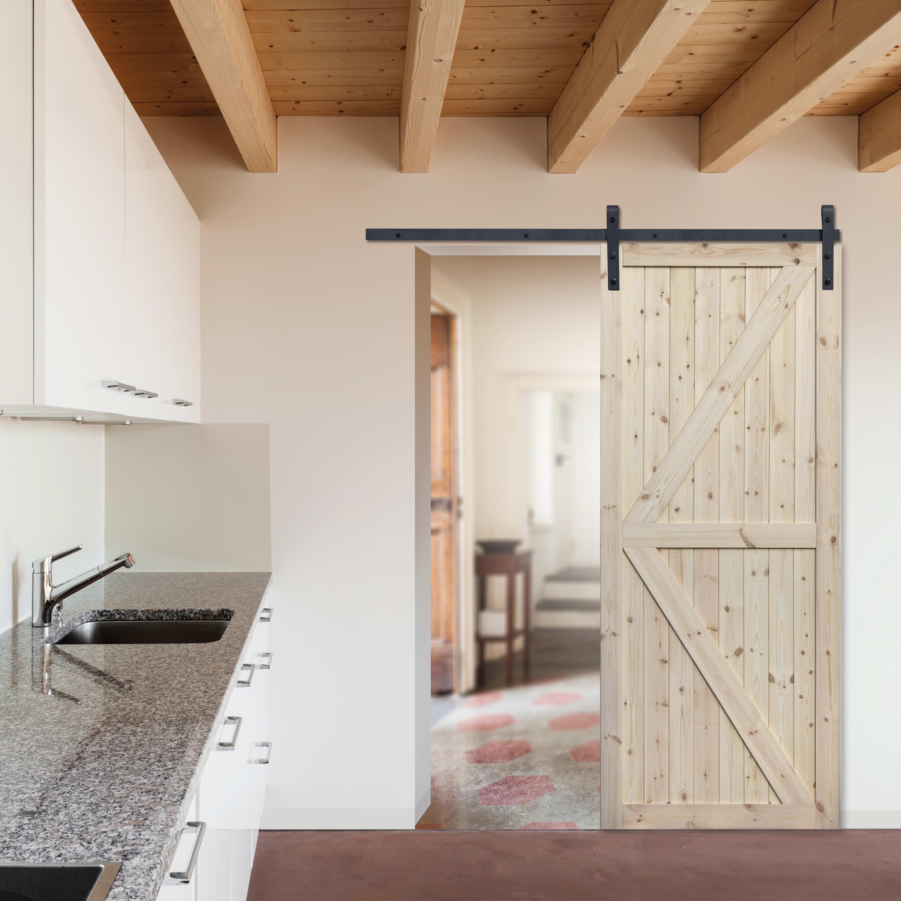 Porta Scorrevole Con Binario Esterno porta scorrevole con binario esterno loft grezzo in legno grezzo kit  factory l 86 x h 213 cm