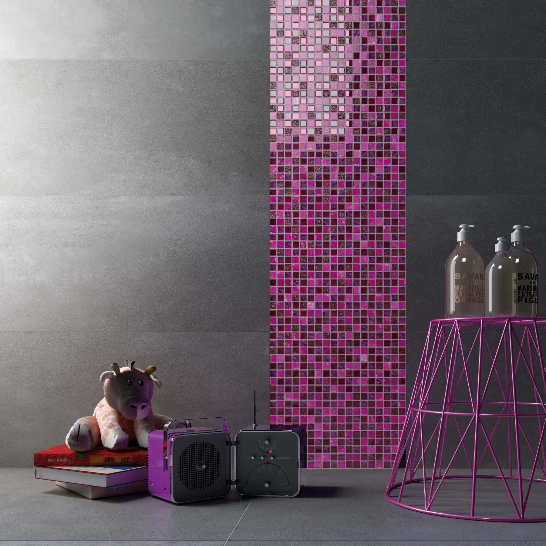 Piastrelle Bagno Mosaico Viola mosaico fucsia glit h 30 x l 30 cm rosa