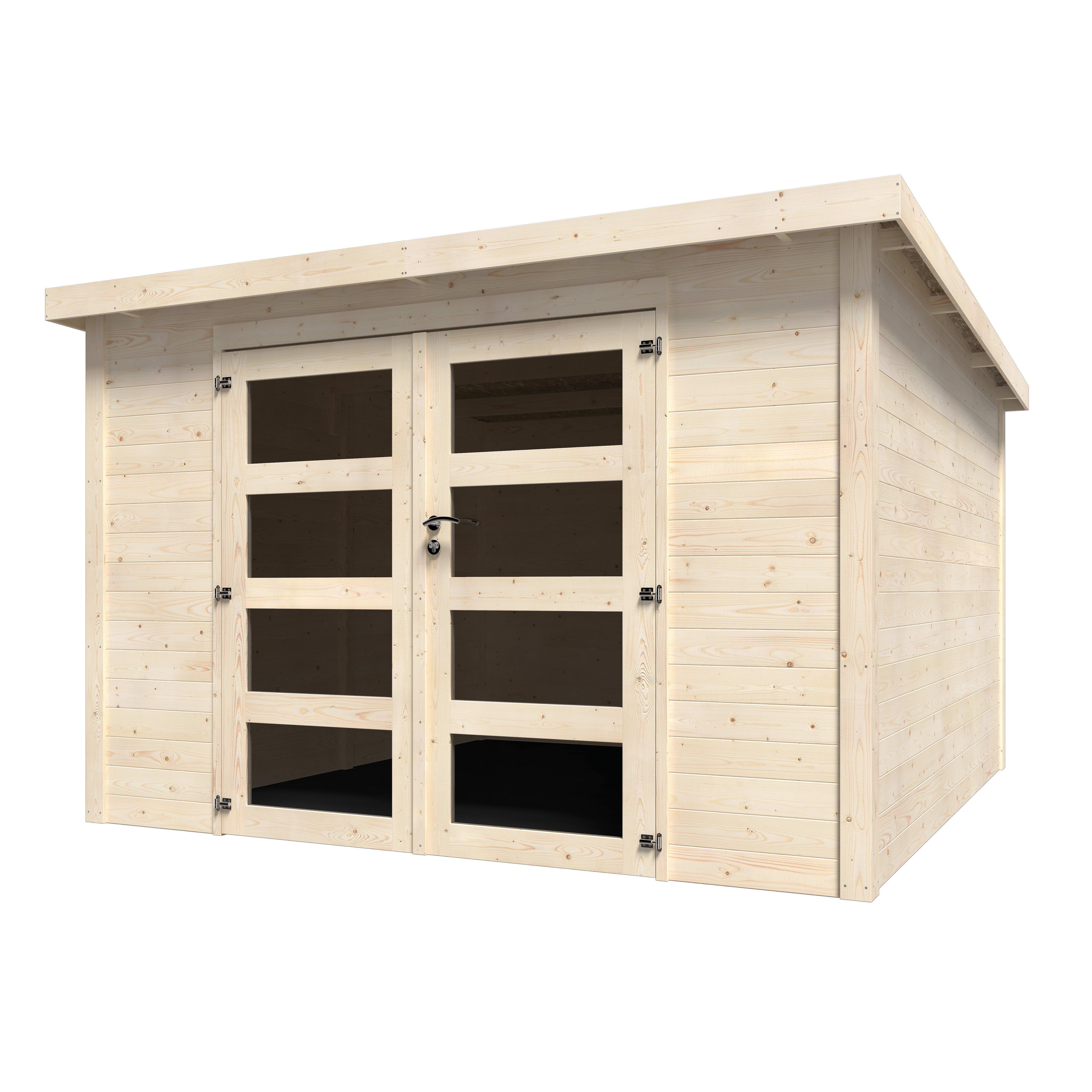 Casette In Legno Terrazzo Permessi casetta da giardino in legno oleandro, superficie interna 8.65 m² e  spessore parete 28 mm
