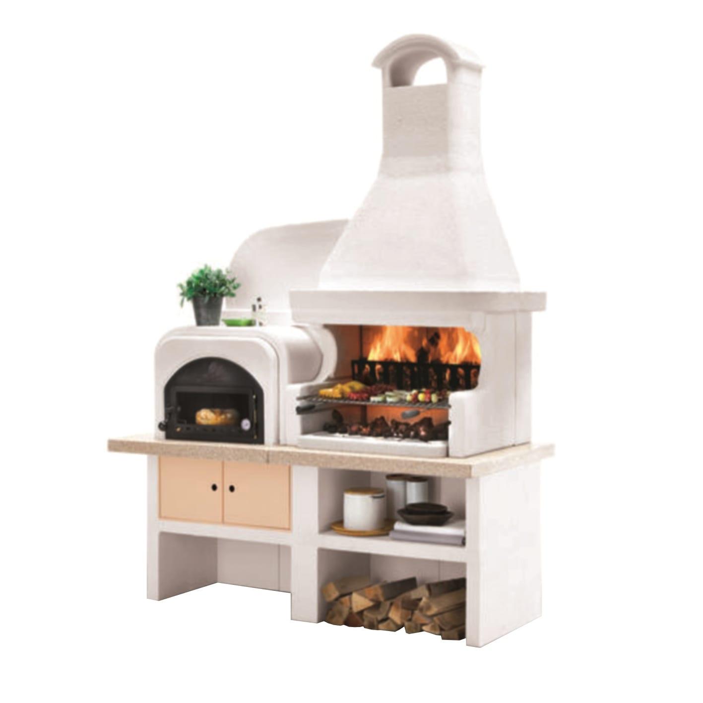 Barbecue In Muratura Immagini barbecue in cemento refrattario palazzetti malibù + forno a sx griglia 76  cm l 180 x p 85 x h 252 cm