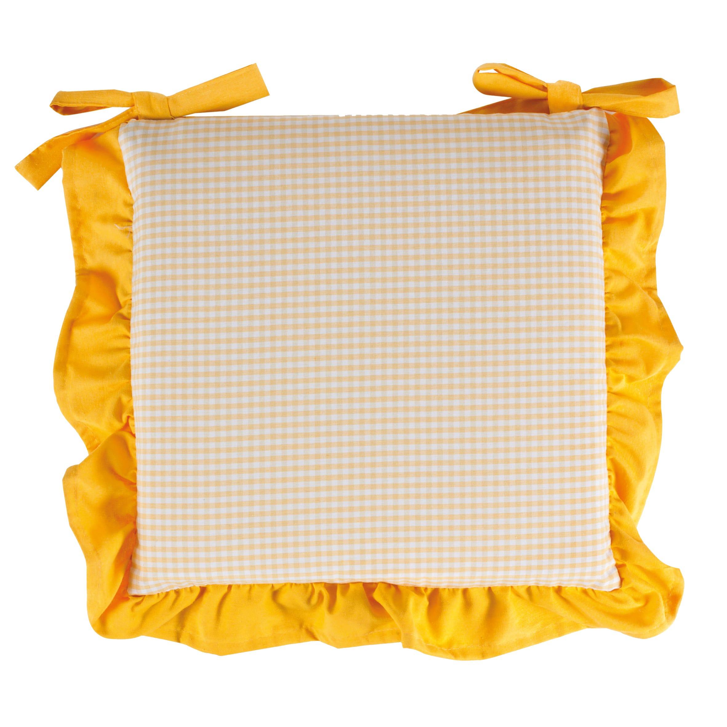 Cuscino per sedia country giallo 40x40 cm