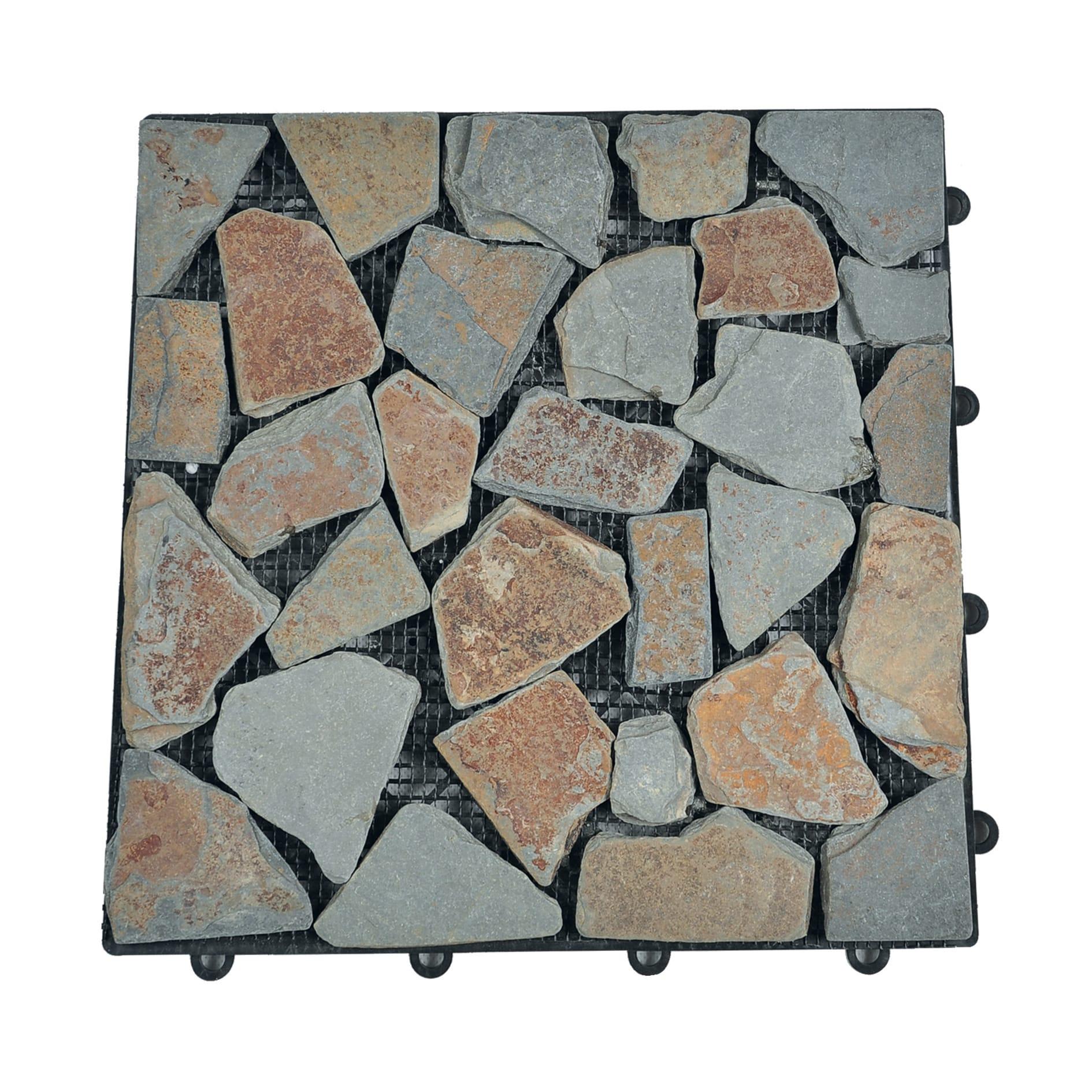 Piastrelle Da Esterno A Incastro piastrelle ad incastro sassi in ciottolo 30 x 30 cm sp 28 mm, beige