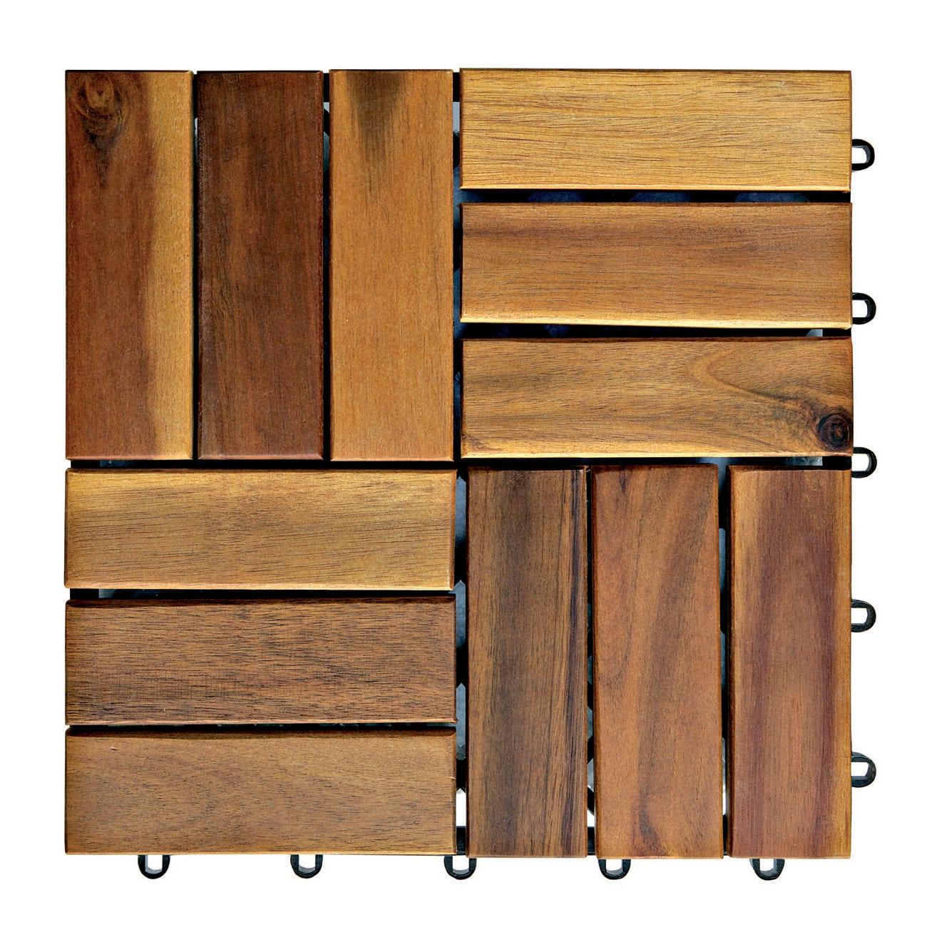 Pavimento A Incastro Per Esterni piastrelle ad incastro in legno acacia 30 x 30 cm sp 25 mm, marrone scuro