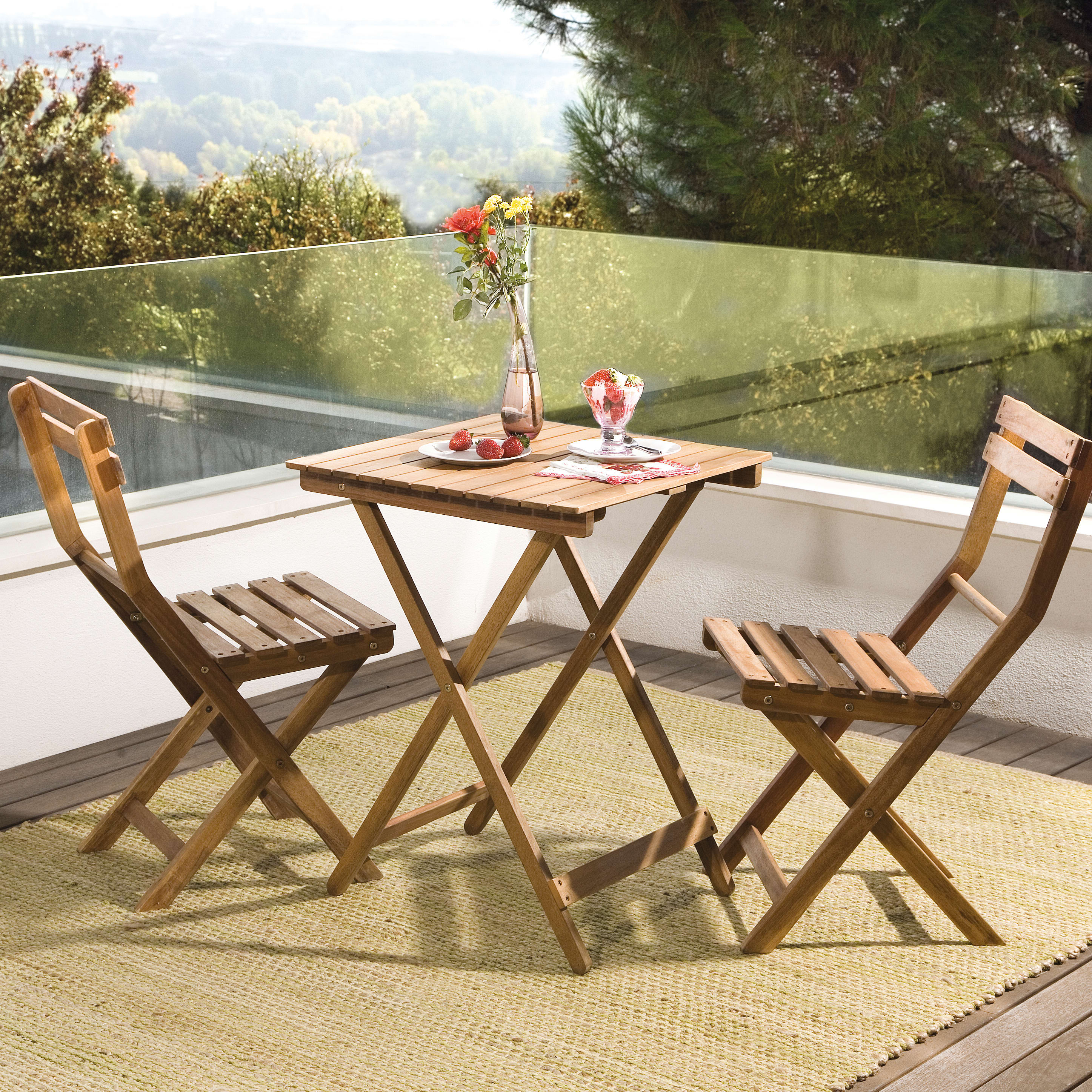Leroy Merlin Mobili Da Balcone set tavolo e sedie naterial porto in acacia marrone 2 posti