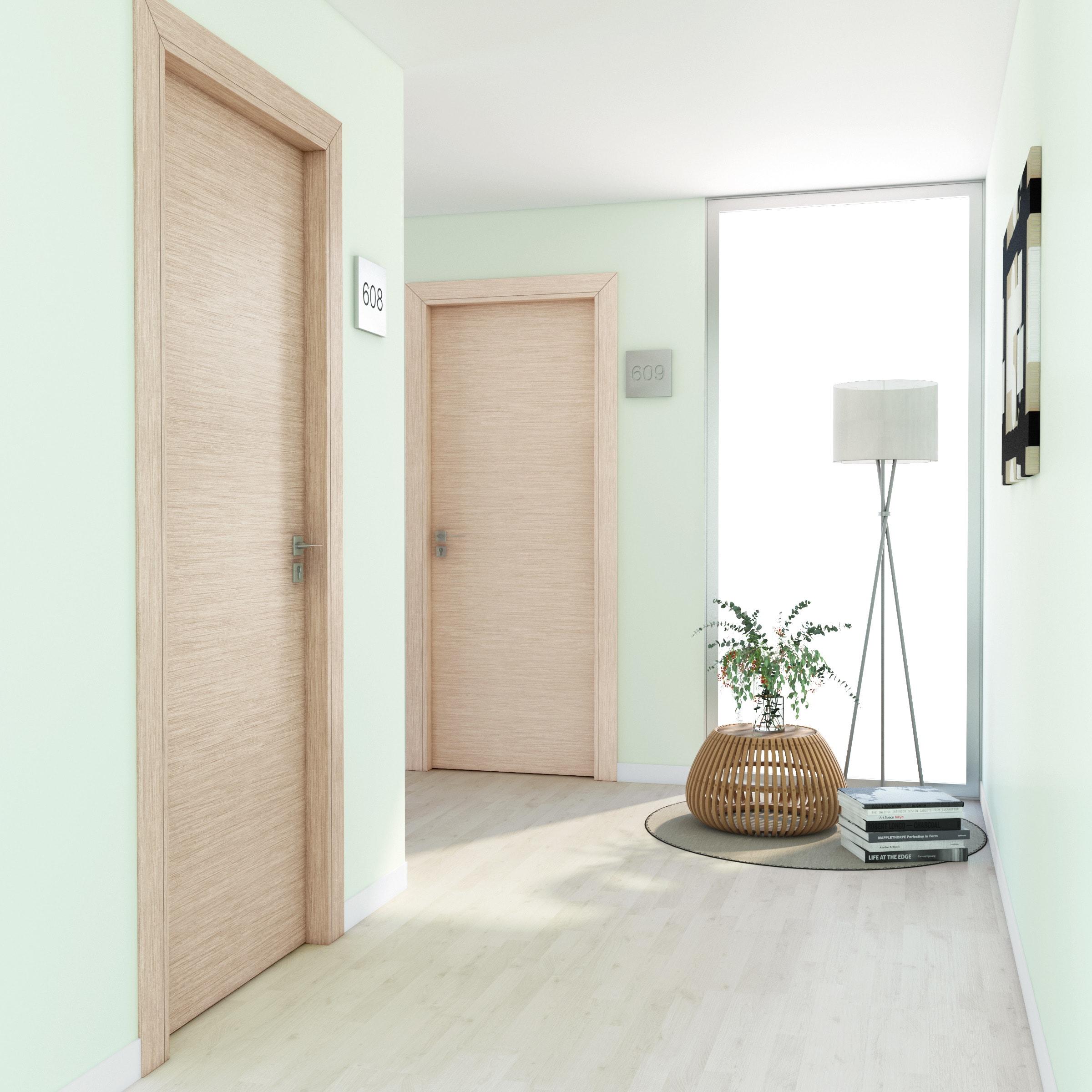 Porte Rovere Sbiancato Spazzolato porta a battente per hotel radisson oak rovere sbiancato l 80 x h 210 cm  destra