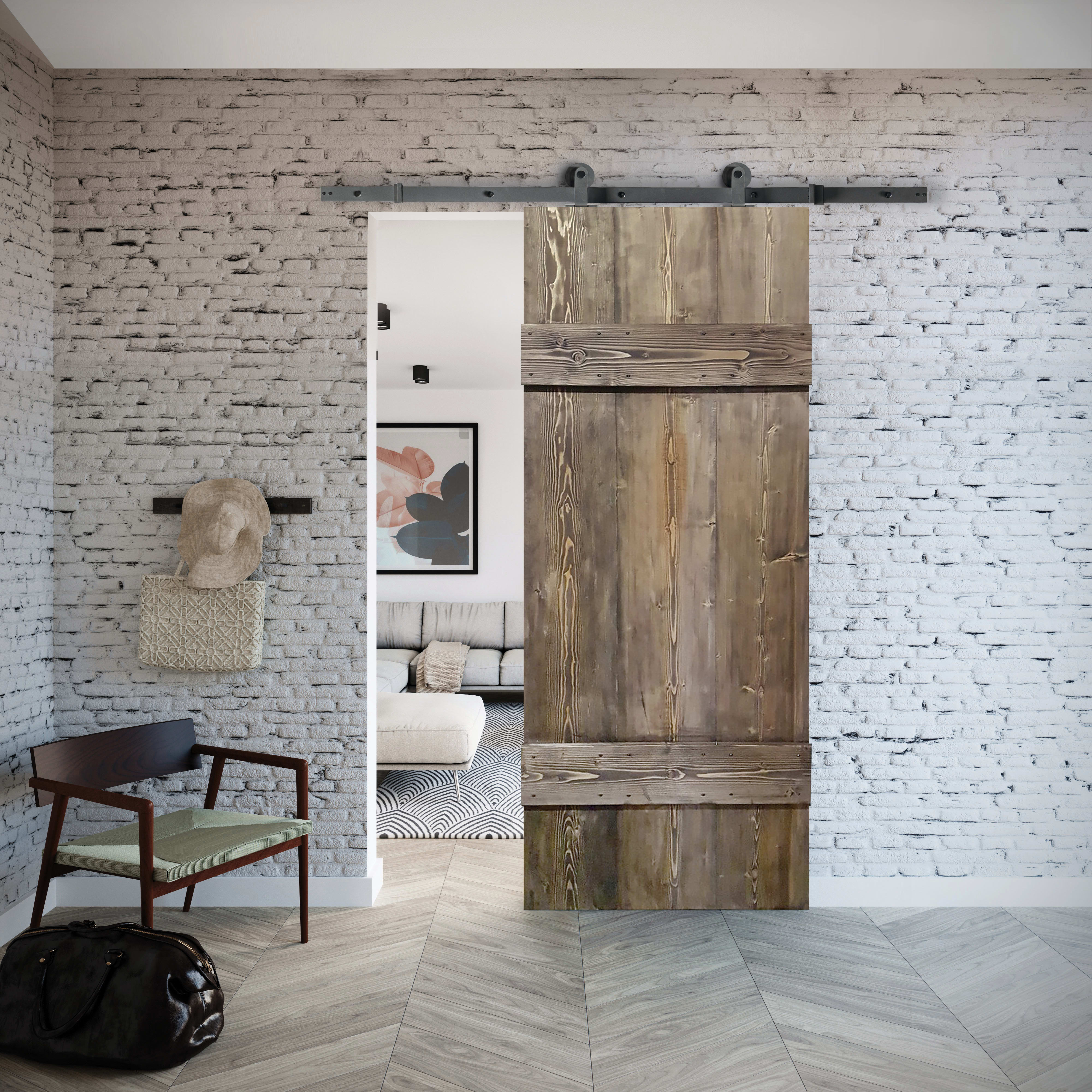 Porta Scorrevole Con Binario Esterno porta scorrevole con binario esterno barn ebano in legno kit toledo l 96 x  h 215 cm