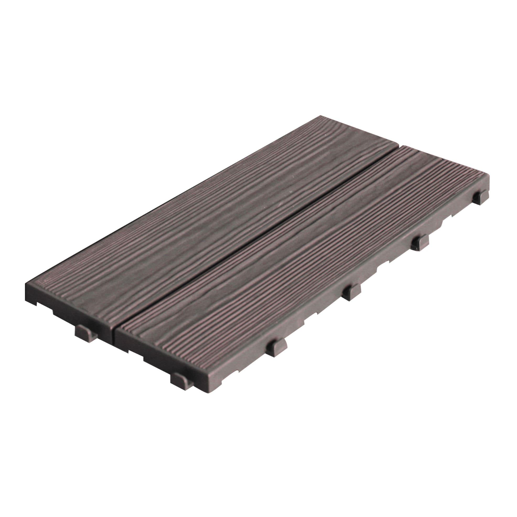 Pavimento A Incastro Per Esterni piastrelle ad incastro onek easywood 14 pezzi in pvc 18.6 x 37.7 cm sp 17  mm, marrone scuro