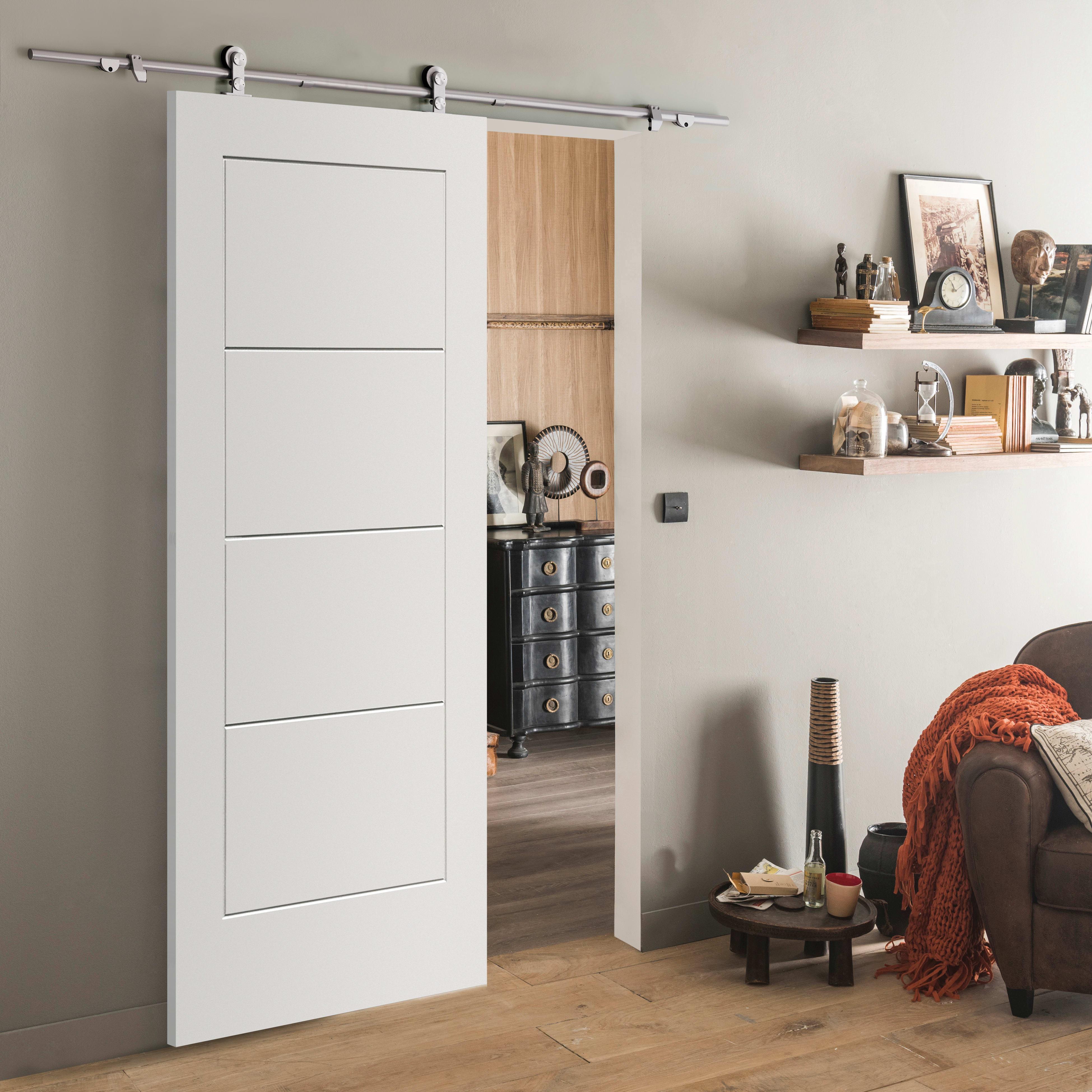 Porta Scorrevole Esterna Vetro porta scorrevole con binario esterno ribera in mdf laccato kit toledo l 93  x h 212 cm
