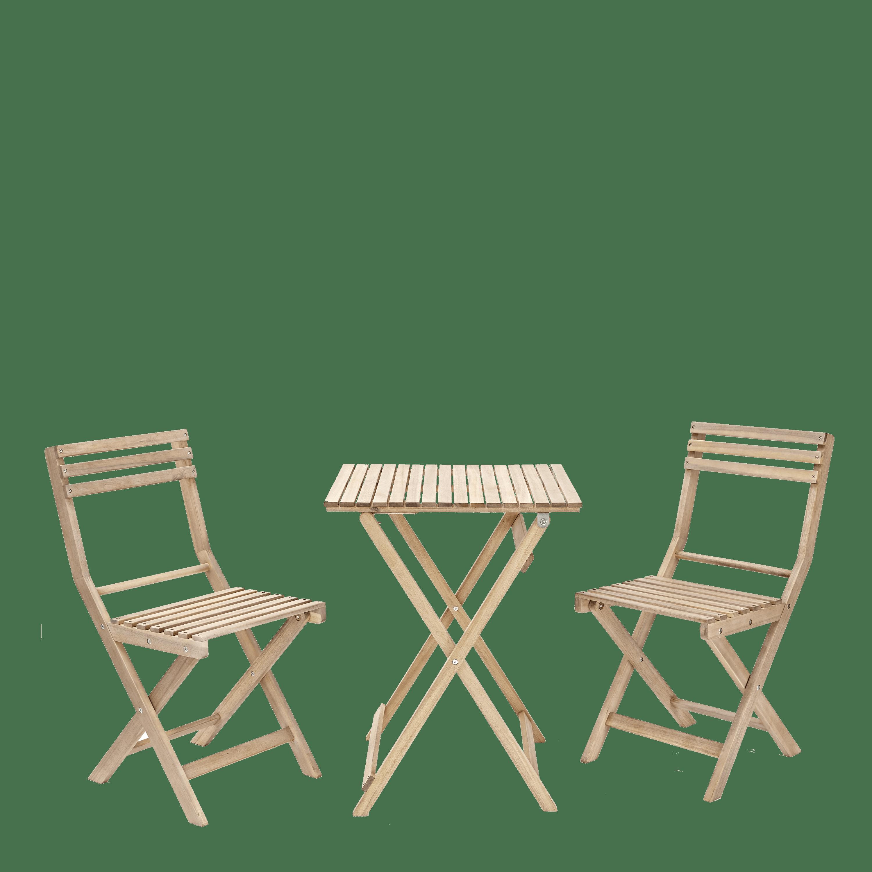 Set tavolo e sedie NATERIAL Solis in acacia marrone 2 posti