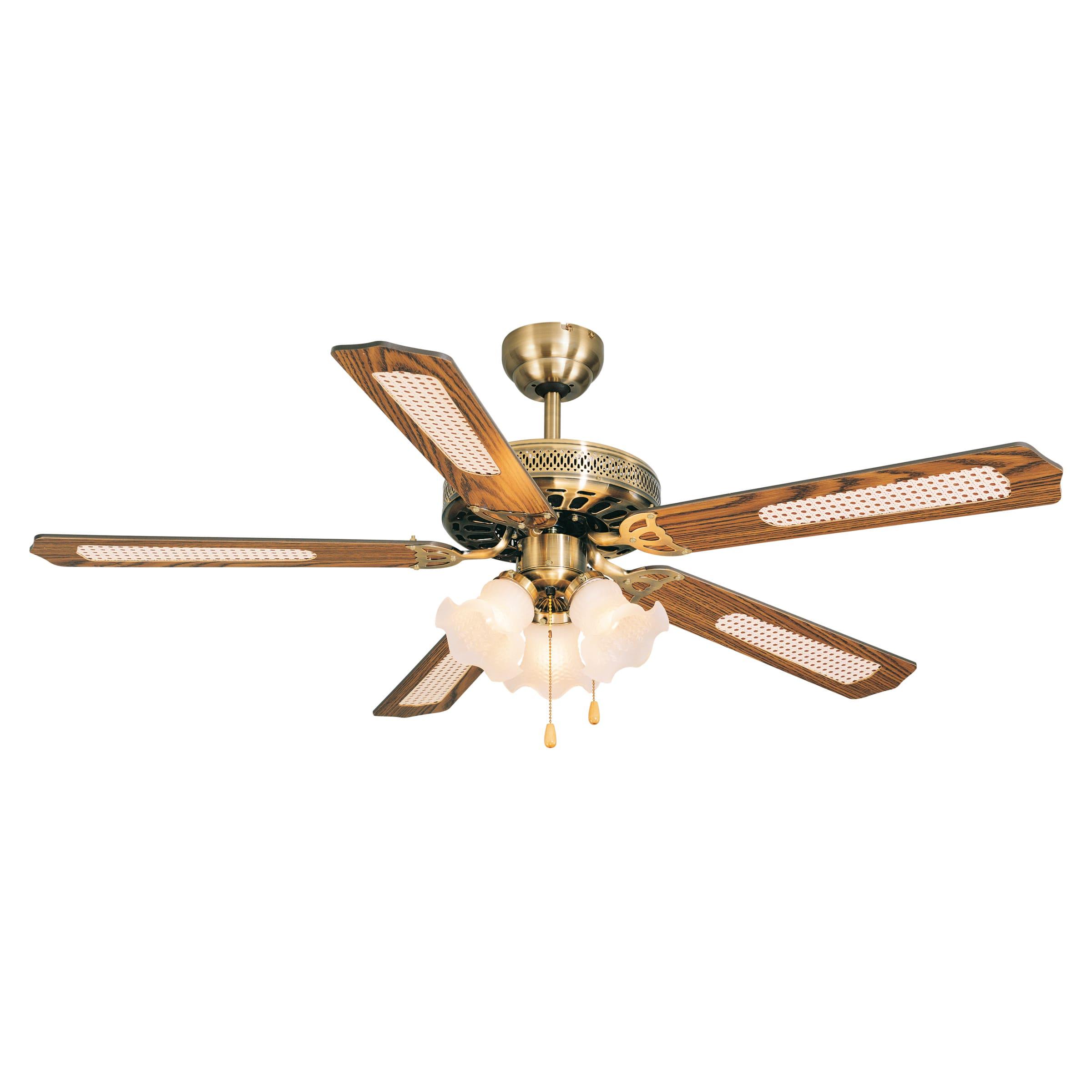 Accensione Lampadario Con Telecomando ventilatore da soffitto reunion, rovere/rovere paglia, d. 132 cm