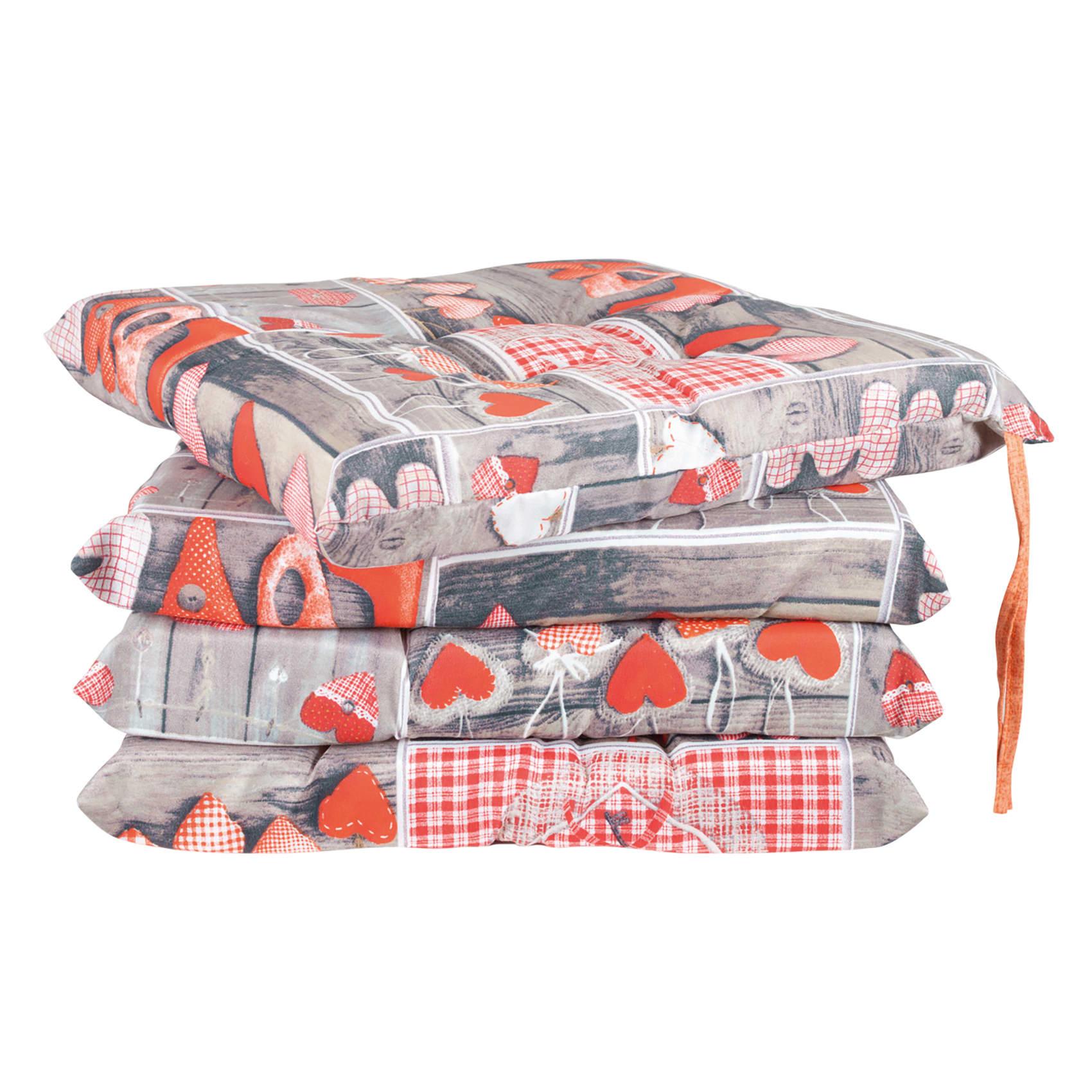 Cuscino per sedia Cuore arancio 40x20 cm, 4 pezzi