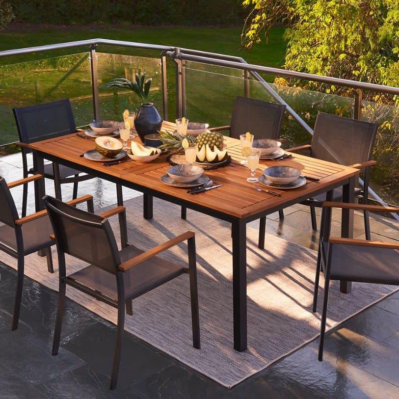 Set tavolo e sedie NATERIAL Oris in alluminio grigio argento e marrone 6 posti