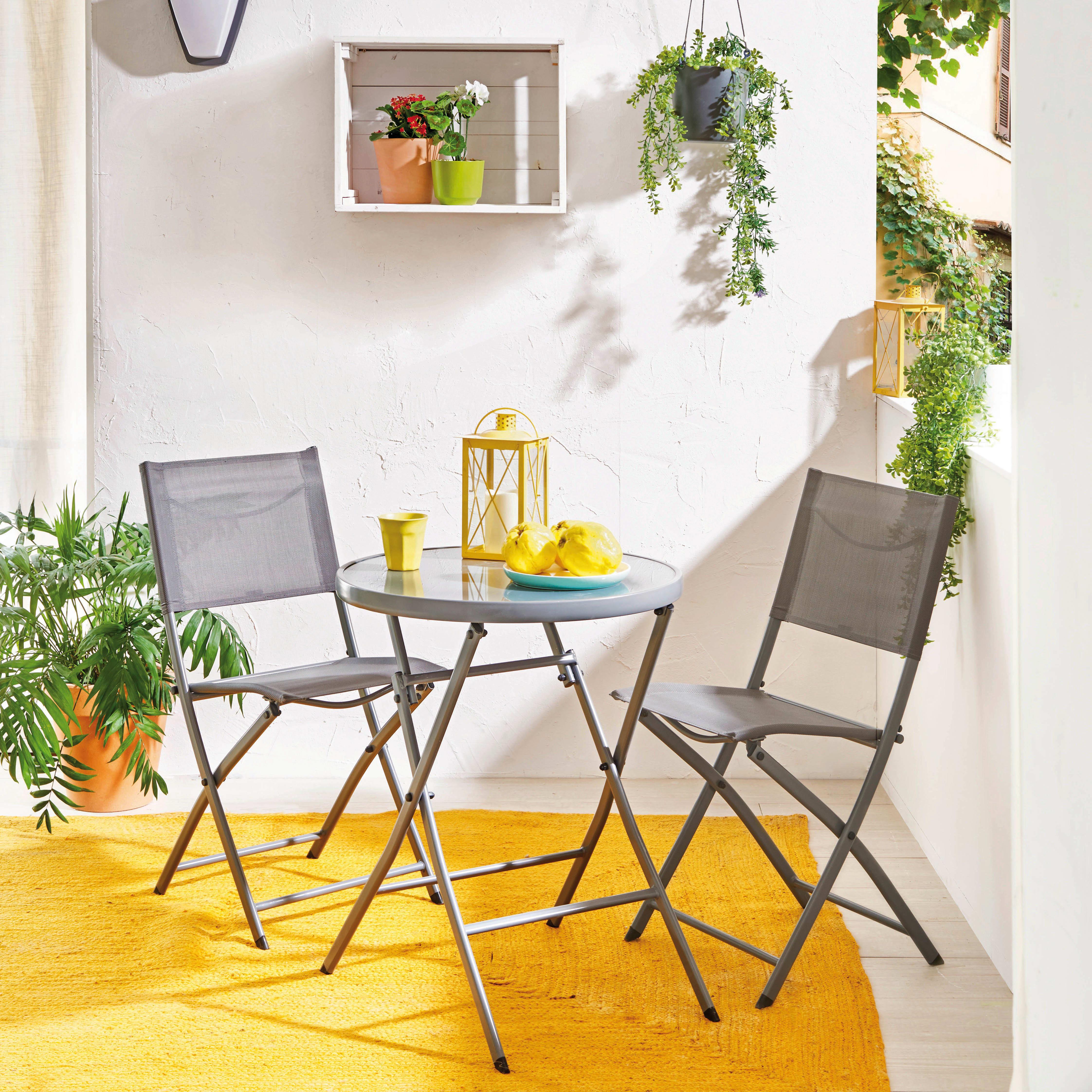 Set tavolo e sedie NATERIAL Emys in acciaio grigio argento 2 posti