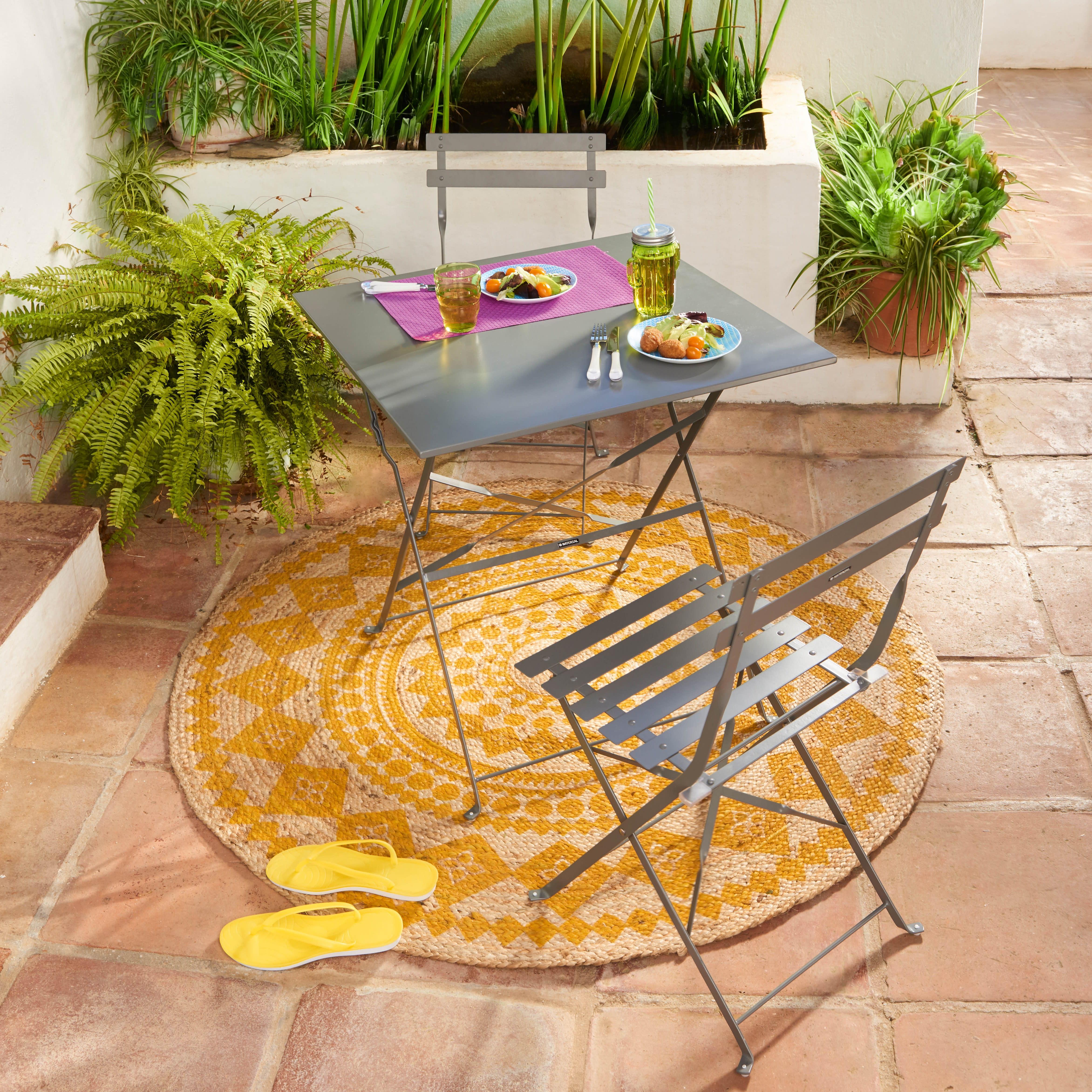 Set tavolo e sedie NATERIAL Flora in acciaio grigio argento 2 posti