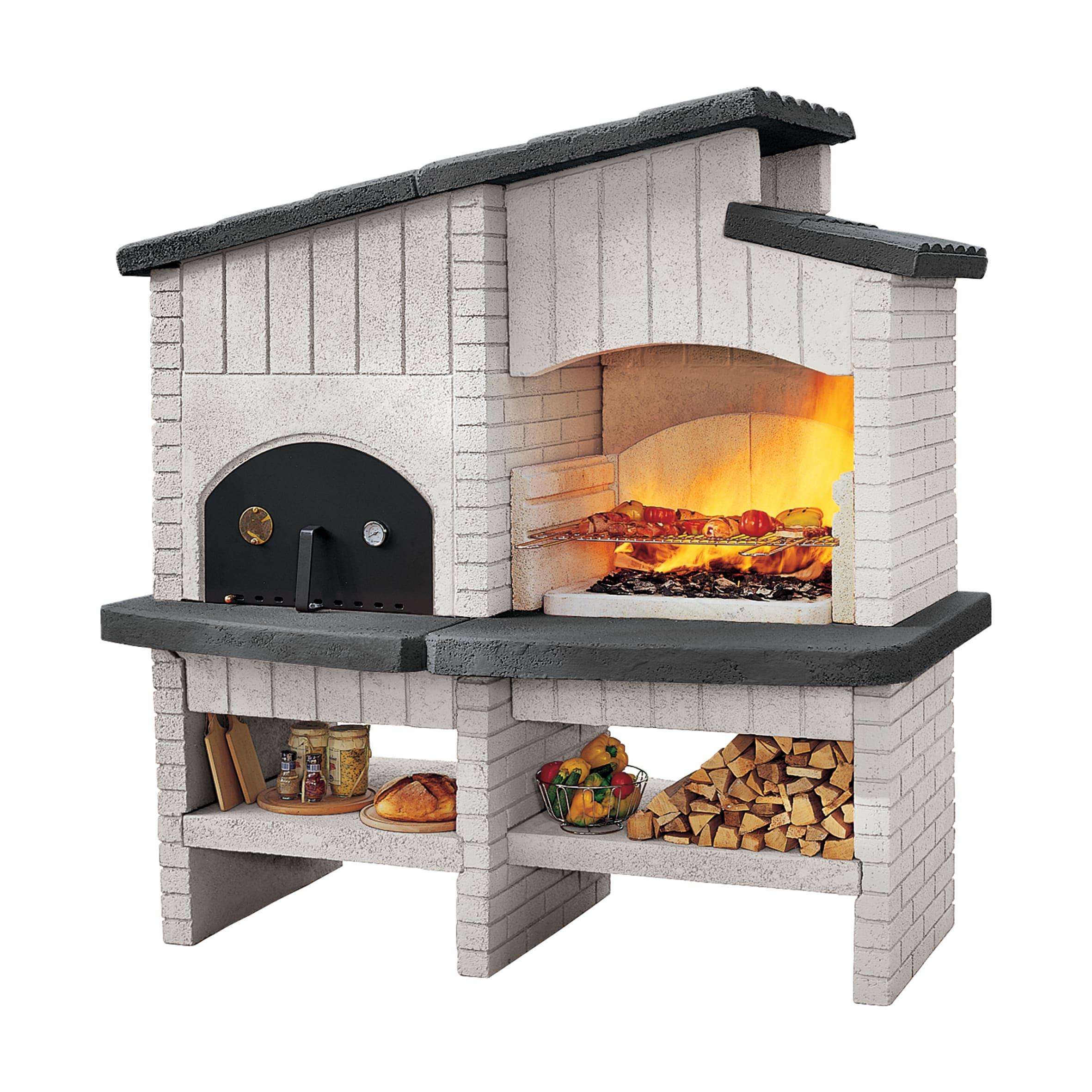 Forno A Legna Con Camino barbecue in pietra naturale new zeland l 178 x h 184 cm